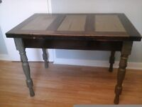 Upcycled hardwood table.