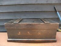 VINTAGE WOODEN BLACK TRUNK WAS FOR TOOLS CAN BE USED FOR ANYTHING METAL HANDLES GOOD CONDITION £45