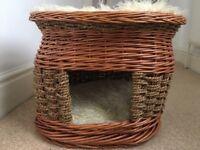 Michur Original Cat Dog Wicker Basket Cave Bed Including Pillows
