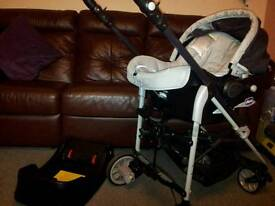 Travel system (Pushchair and carseat) in silver and black