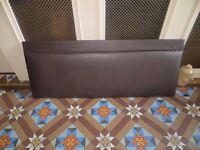 Brown leather type headboard for double bed to attach to the wall