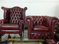 beautiful set ox blood chesterfield high back chair and club chair.brand new condition.