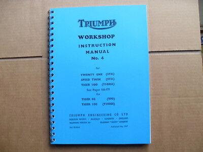 TRIUMPH T21 3TA 5TA T100A 1957 1963 FACTORY WORKSHOP MANUAL T90 T100
