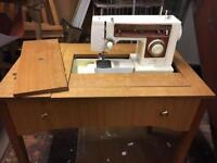 RETRO SINGER SEWING MACHINE and VINTAGE TABLE