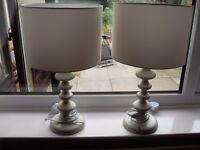 Pair of almost new cream table lamps with shades very good condition