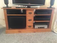 Pine tv stand with CD trays