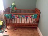 Solid pine cot bed with mattress