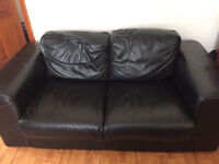 Black Leather Two Seater Sofa Comfortable Good Condition