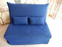 Double Sofa Bed/ Futon in Blue Easy Assemble Like New