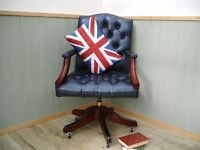 Stunning Blue Leather Chesterfield Captains Chair