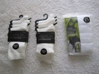 4-pack white M&S ladies cotton briefs UK size 10 and 6-pairs BHS white Premium socks sizes 4-8.