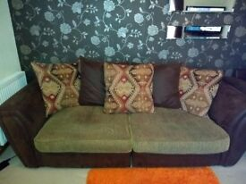 3-4 Seater large brown soft faux leather sofa with cushions VGC
