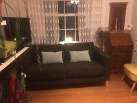 Chocolate brown 3 seater IKEA bouclé fabric sofa