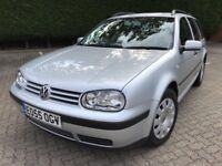 2005 55 VW GOLF 1.9 TDI 130 BHP ESTATE VERY LOW MILEAGE 97K 1 PREVIOUS OWNER FULL SERVICE HISTORY