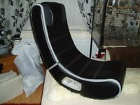 BLACK LEATHER GAMES CHAIR