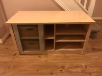 TV Unit in Beech and Silver