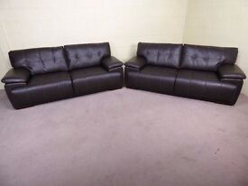 'INFINITY' PAIR OF 3 SEATER ENDURANCE LEATHER EX SCS SOFAS