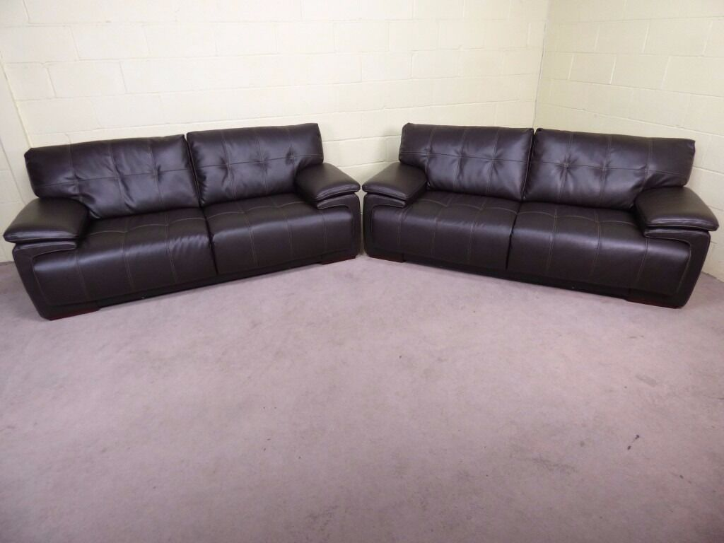 Infinity Pair Of 3 Seater Endurance Leather Ex Scs Sofas