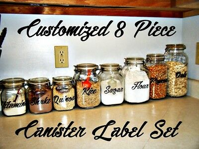 Custom Sticker Labels (Customized 8 pcs Canister Label Decal Sticker set Pantry Kitchen Cook)