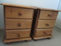 Solid pine 3 drawer chests x 2