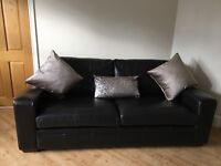 Dark brown 3 seater & 2 seater leather sofas