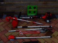 Multi functional petrol garden tool. Hedge trimmer, strimmer, brush cutter & branch pruner.