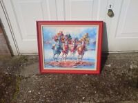 FRAMED OIL ON CANVAS HORSE RACING PICTURE