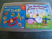 Assorted children's books, musical, pop up, mostly around.50 p each individually priced.