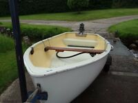 Superb traditional Dinghy on combination trailers, optional 3.5hp engine