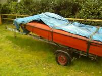 Fletcher speed boat hull and trailer. Easy project