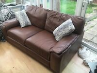 Chestnut leather deep cushioned sofa - cheap!!!