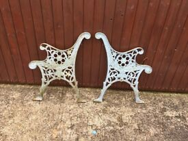 VICTORIAN CAST IRON CHAIR AND TABLE ENDS