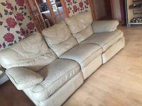 Cream leather recliner suite