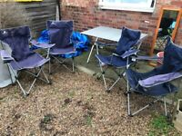 Garden furniture with a metal folding table and 4 folding chairs