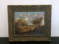 Vintage Landscape Painting Hand Painted on Canvas in Gold Frame
