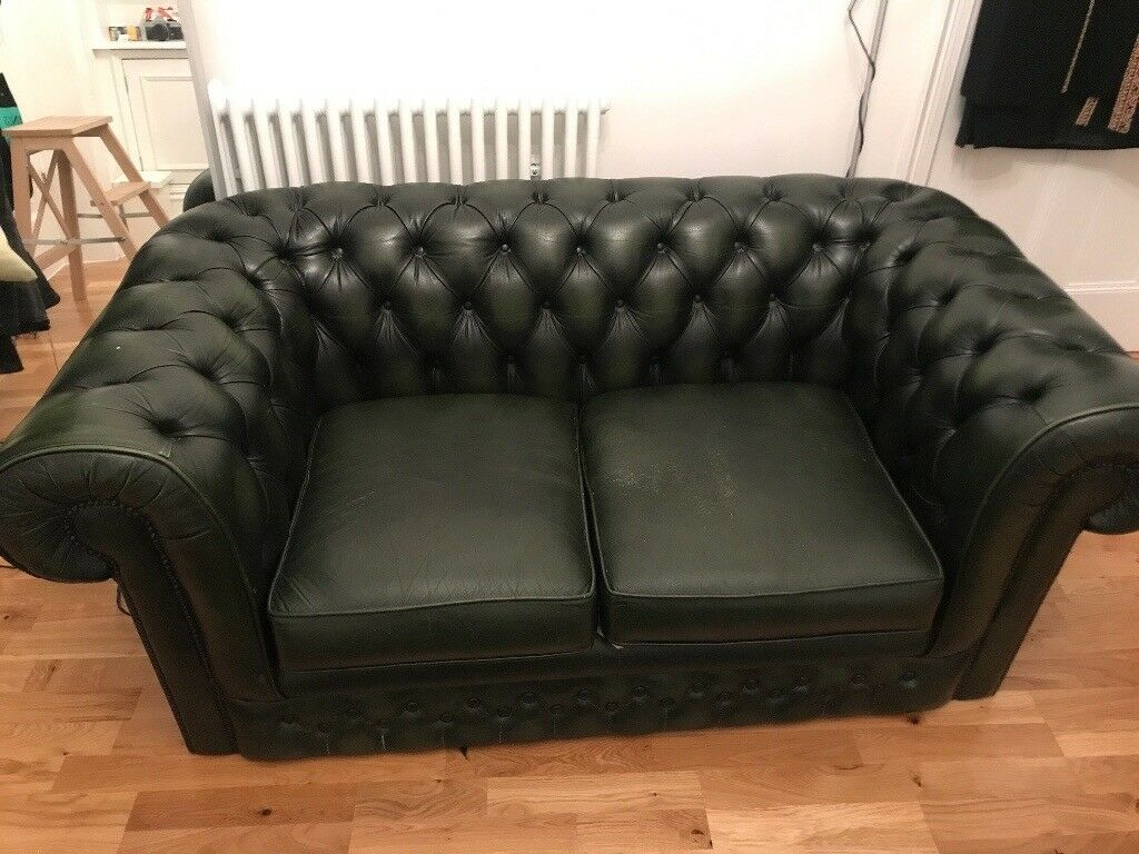 Antique Style Green Leather Chesterfield Sofa In Southwark