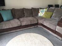 Brown/Mink Corner Sofa (Leather & Chord)