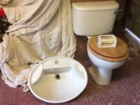 Cream wash basin and toilet with seat used