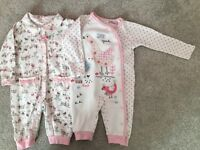 Set of 2 Baby Girl sleepsuits 3-6 months in excellent condition