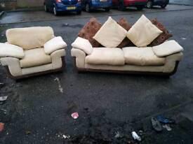 3 & 1 seater cream fabric & brown suede fabric sofa