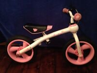 2 Balance bikes with attachable pedal boxes to convert to conventional kids bikes