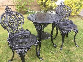 Cast iron table & chairs just been painted