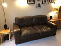 Italian Leather Sofa and matching footstool