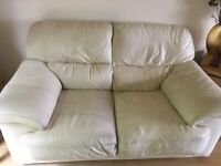 2 seater ivory leather sofa