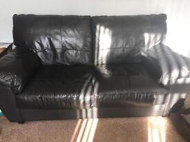 3 & 2 Seater Black Sofa