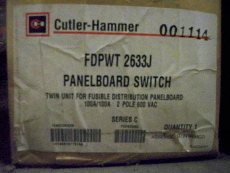 Cutler Hammer Fdpwt2633j 100a 2p Twin Fuse Panel Switch