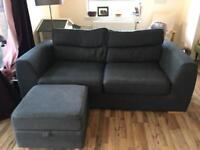 DFS Charcoal Grey Fabric 3 Seater Sofa with storage footstool