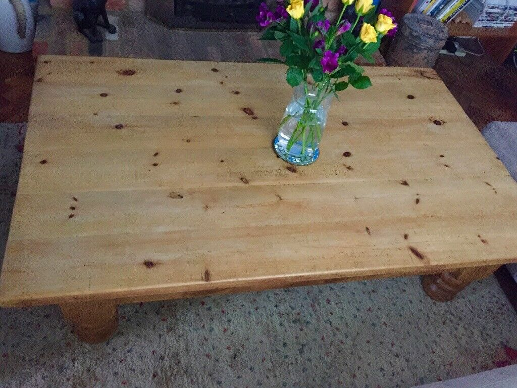 Super Large Chunky Mellow Pine Vintage Coffee Table