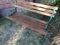 Hardwood and Cast Iron Garden Bench