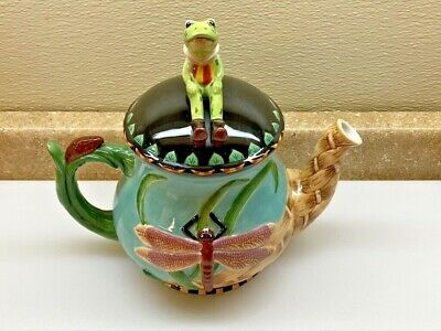 HOUSE OF HATTEN PEGGY FAIRFAX HERRICK Frog Dragonfly TEAPOT Gr8 4 GARDEN PARTY
